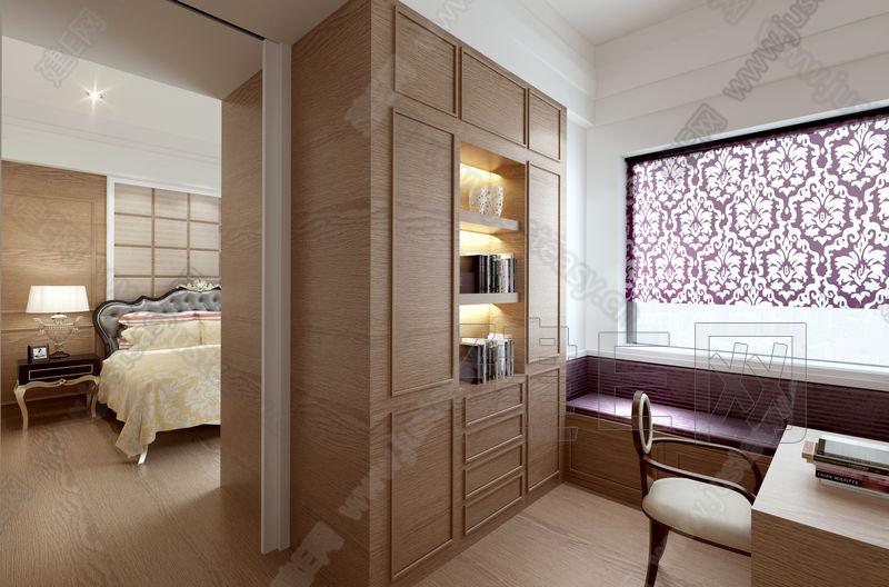 欧式卧室书房组合样板房3d模型