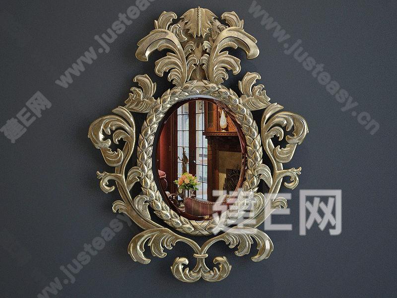 欧式金属雕花镜3d模型下载[id:96601]