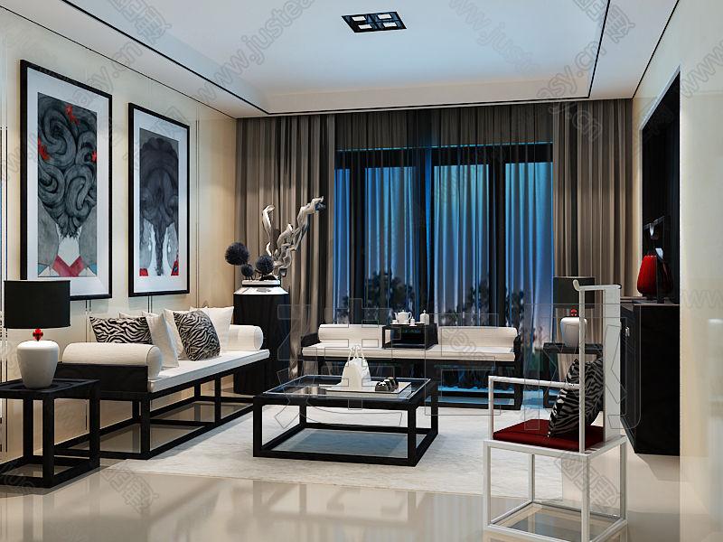 現代新中式客廳沙發椅子茶幾組合3d模型下載[id:9644