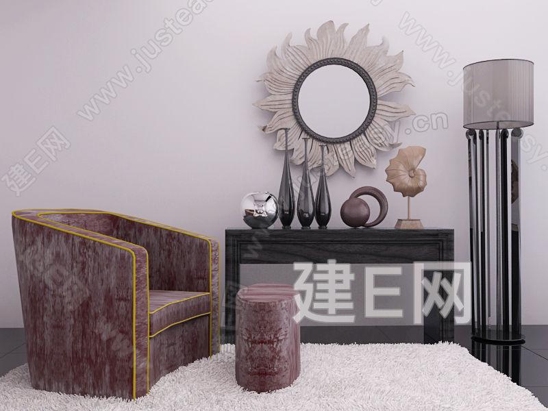 欧式新古典沙发装饰品组合3d模型下载[id:97063]