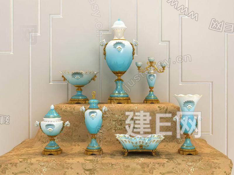 欧式花瓶摆件组合3d模型下载[id:97364]