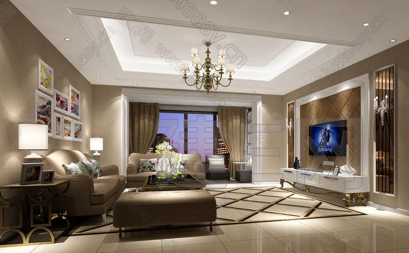 简约欧式沙发组合3d模型下载[id:98895]