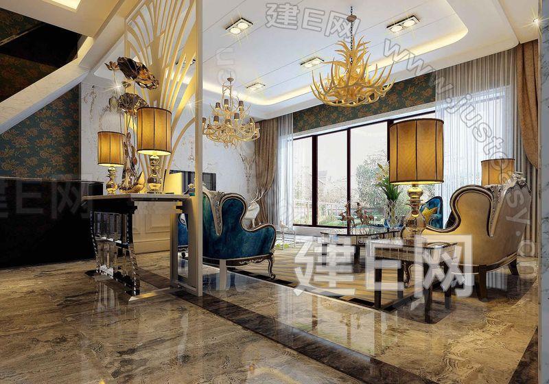 欧式别墅客厅沙发组合3d模型下载[id:101416]