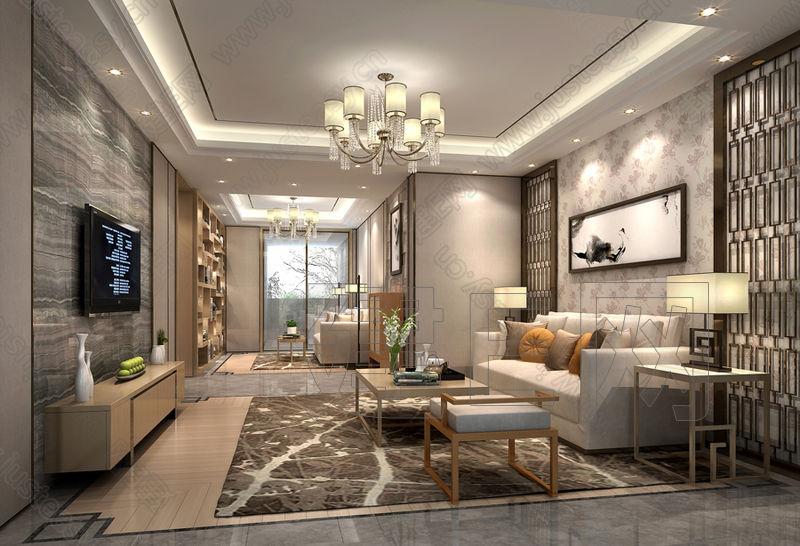 中式灯具 客厅 吊灯   新中式客厅吊顶吊灯装修效果图片   新