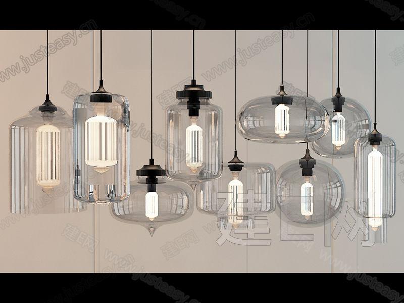 现代水晶玻璃工业吊灯组合3d模型下载[id:102395]