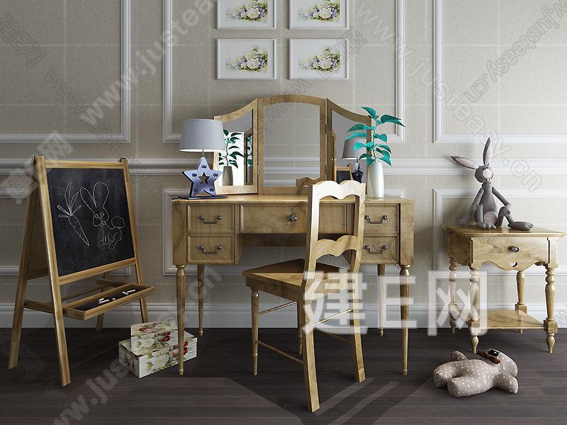 简欧儿童书桌椅组合3d模型下载[id:127448]