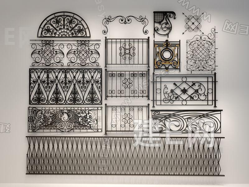 各种风格铁艺雕花栏杆雕花3d模型下载[id:127927]