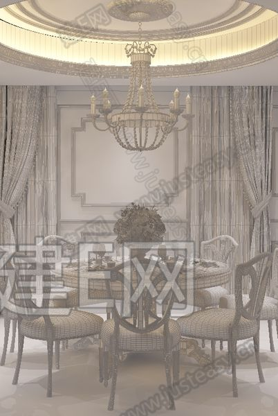 欧式餐桌椅组合3d模型下载[id:129248]