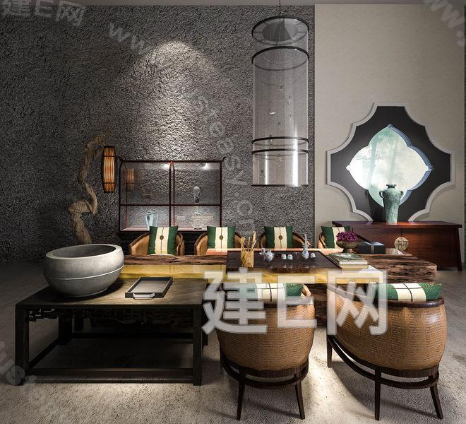 建e网 模型首页 椅子 桌椅 中式茶室场景组合[模型id:130065]