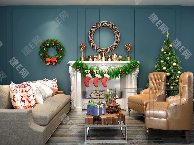 圣诞主题沙发壁炉摆件组合3d模型下载[id:130472]