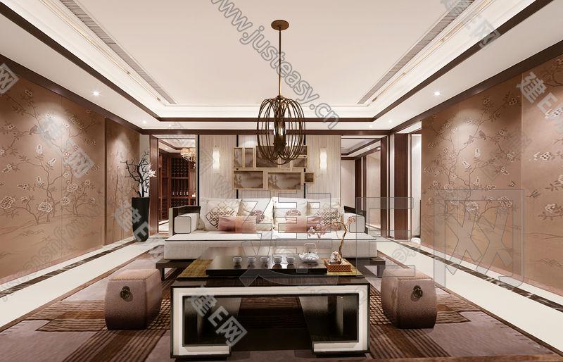 新中式客厅沙发茶几组合3d模型下载[id:109949]