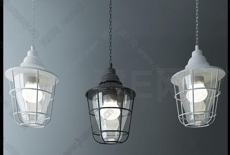 铁艺玻璃工业吊灯组合3d模型下载[id:110059]