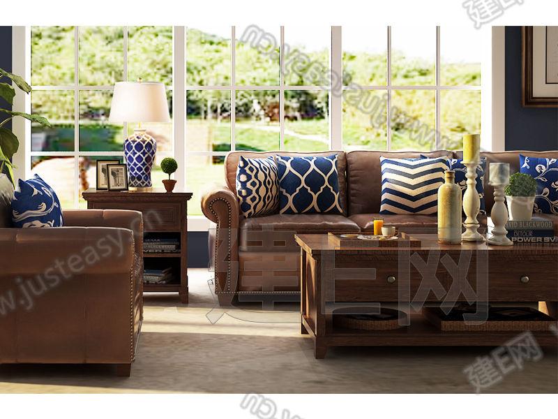 美式客厅沙发椅组合3d模型下载[id:113424]