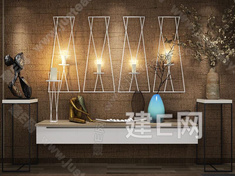 现代中式电视柜摆件墙饰组合3d模型下载[id:114929]