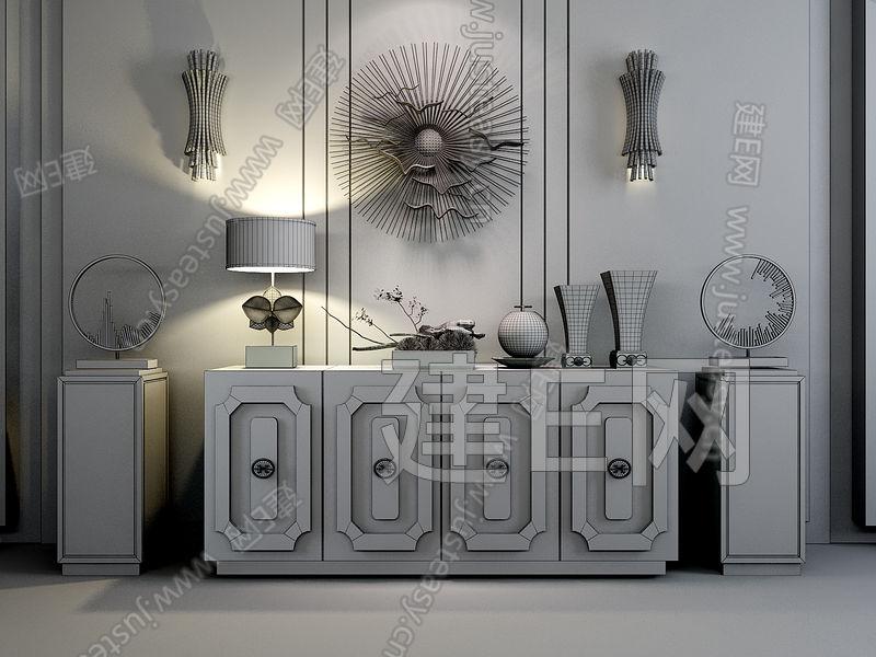 新中式柜子墙饰摆件组合[模型id:116818]