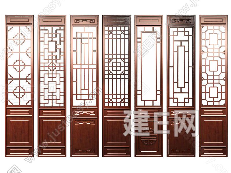 中式花格门窗隔断组合3d模型下载[id:120002]