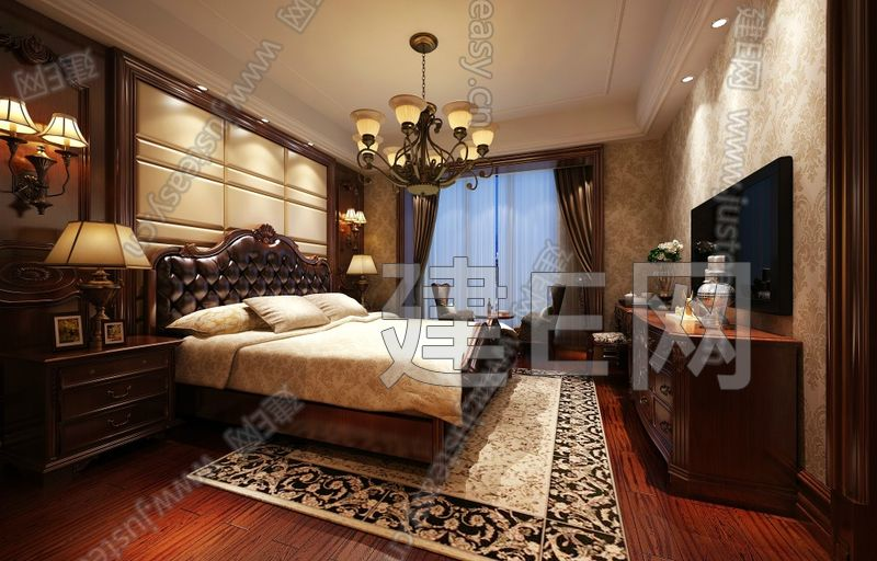豪华欧式卧室 皮质红木床