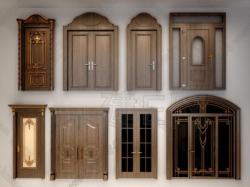 欧式双开门玻璃门组合3d模型下载[id:124845]