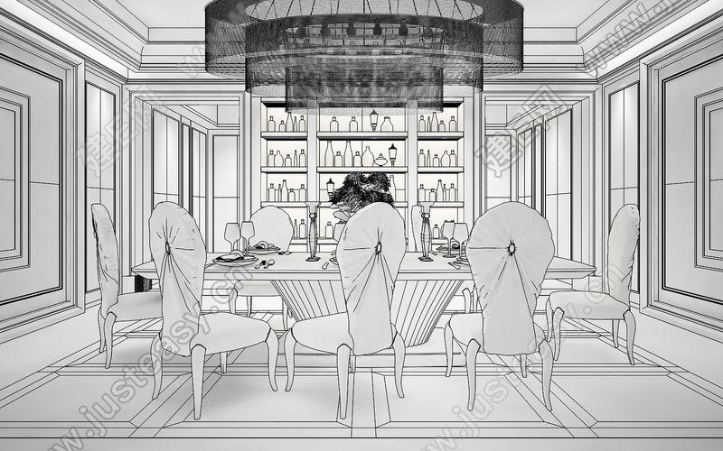酒柜马克笔手绘