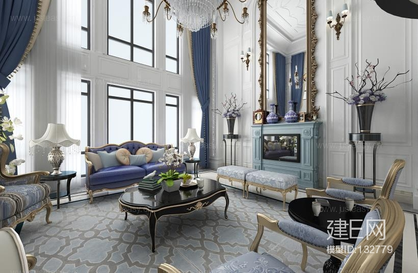 欧式法式别墅客厅3d模型下载[id:132779]