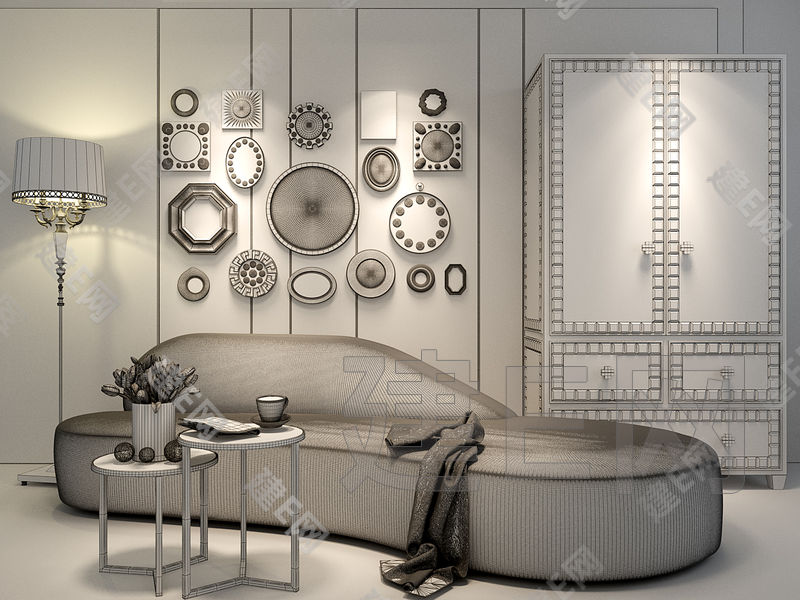 低调奢华弧形沙发柜子镜子墙组合[模型id:133136]