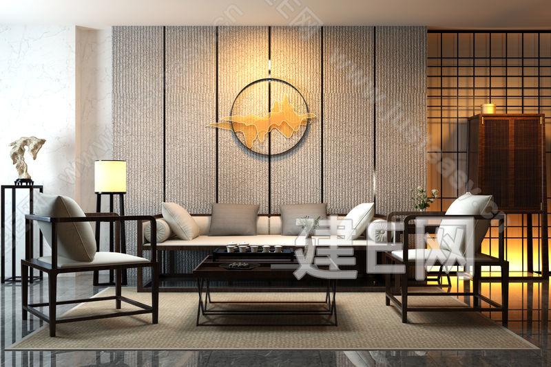 新中式客厅沙发椅子组合客厅家装空间模型-3d模型分享交流平台-原创3d模型下载-3d模型下载网站