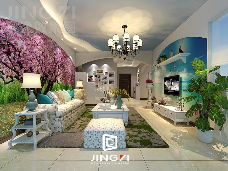 景逸效果图设计 家装美式,地中海,田园风格客厅设计