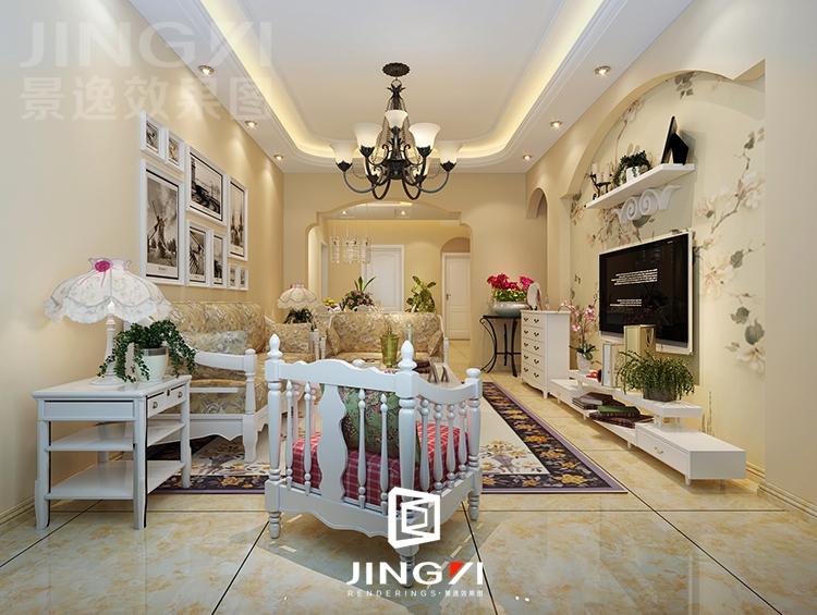 设易网 景逸效果图设计 家装美式,地中海,田园风格客厅设计