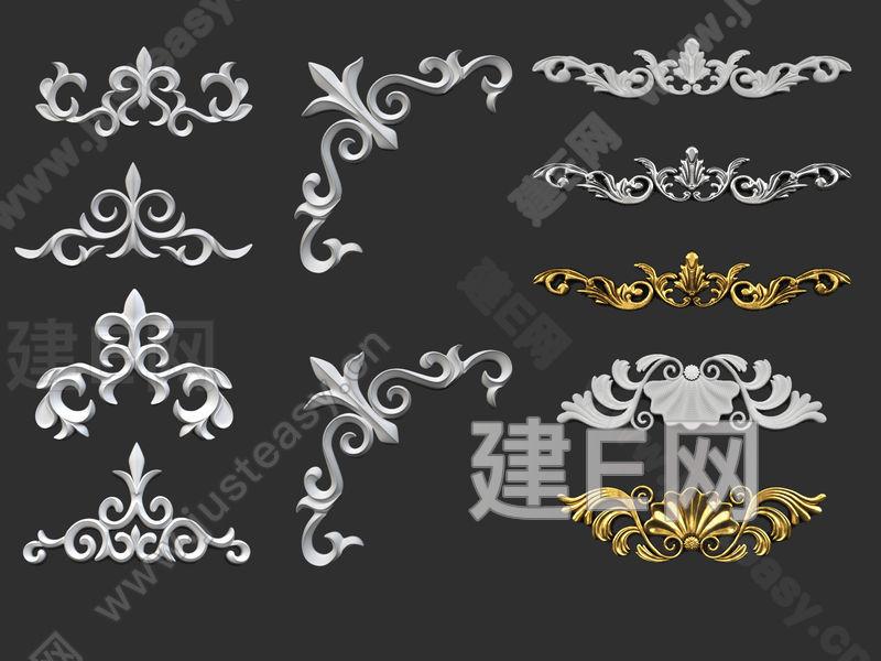 欧式雕花构件3d模型下载[id:133949]