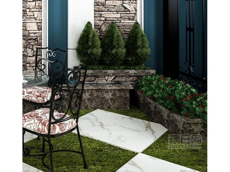 欧式花园水池背景组合3d模型下载[id:136204]