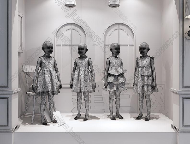 建e网 模型首页 人物/动物 人物 儿童服装精品厨窗模特[模型id:138812