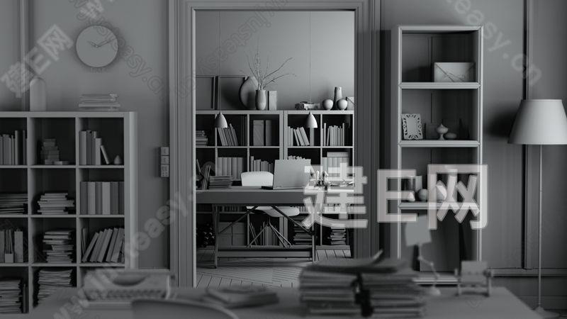 北欧书房3d模型下载[id:139974]_建e网模型下载-3d图片