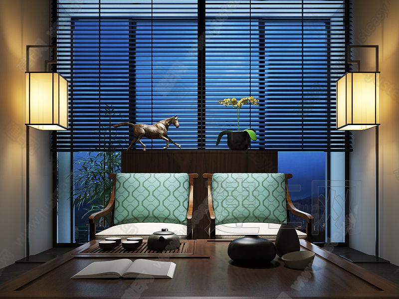 新中式禅意茶室图片