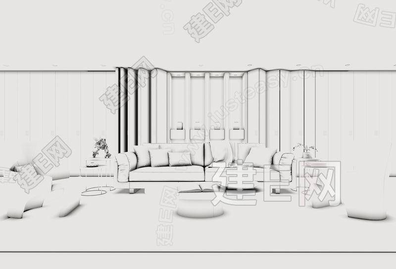 后现代高级灰沙发茶几组合3d模型下载[id:148804]