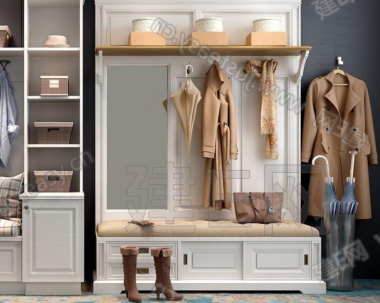 简欧鞋柜组合3d模型