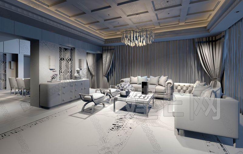 现代美式客厅3d模型