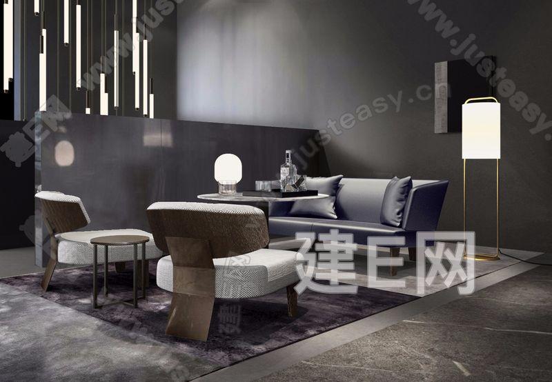现代轻奢沙发组合 建e网3d模型分享交流平台 3d模型下载 3d模型下载网站