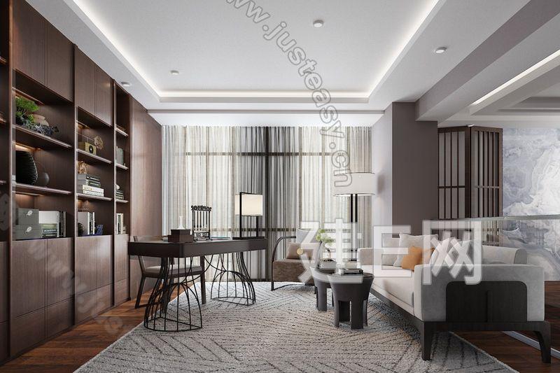 戴勇新中式书房3d模型