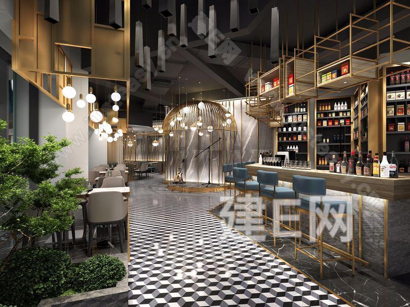 现代灰色调豪华餐厅3d模型