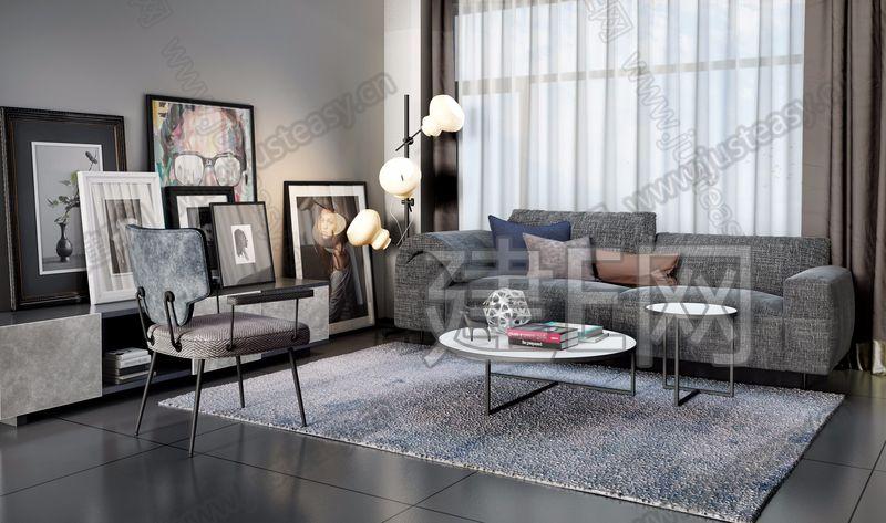 意大利arketipo现代沙发电视柜组合3d模型