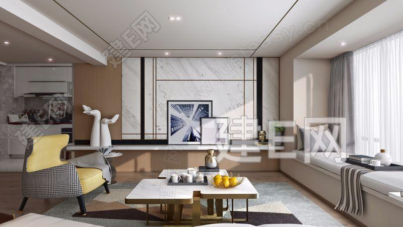 集艾室内设计龙湖天璞样板房.现代客厅3d模型