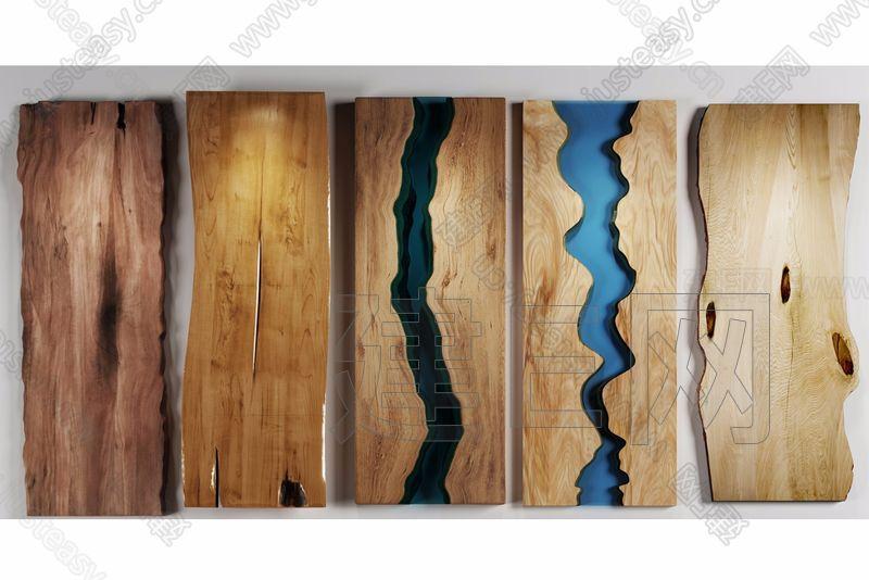 新中式木头台面组合3d模型