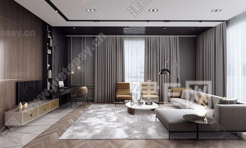 棕色调质感现代客厅3d模型