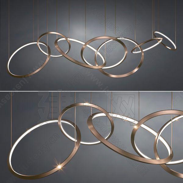 Christopher Boots 国际知名的工业设计师现代金属吊灯3d模型