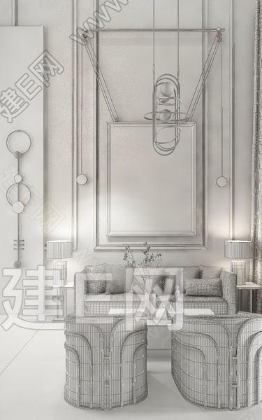 黄全 现代酒店洽谈区3d模型