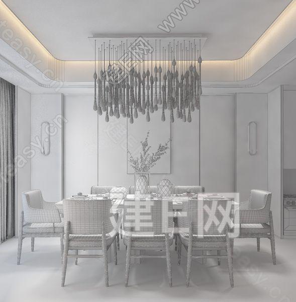 几何空间设计 新中式餐厅3d模型