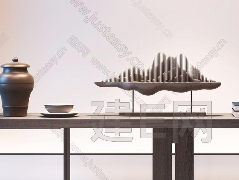 新中式水晶吊灯植物摆件3d模型