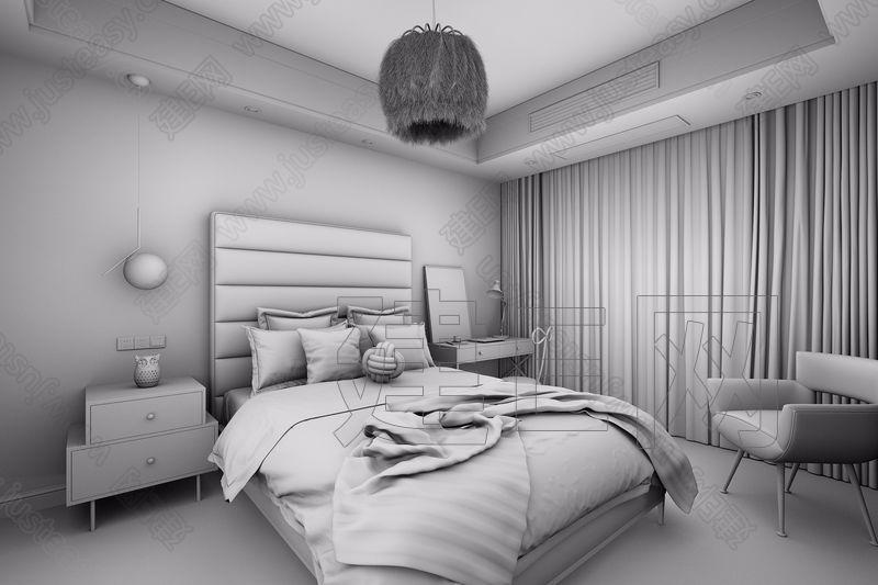 辰佑设计 Black & Golden 现代卧室3d模型