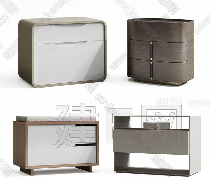 现代床头柜组合3d模型