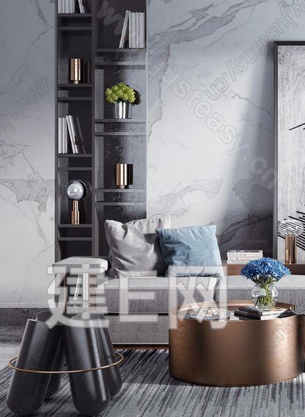 新中式沙发休闲椅组合3d模型